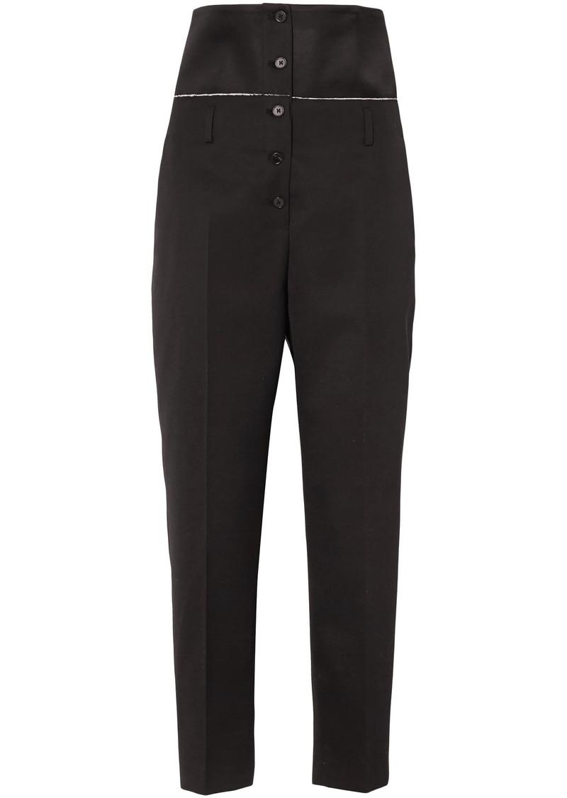 Jil Sander Woman Satin-paneled Wool-twill Slim-leg Pants Black