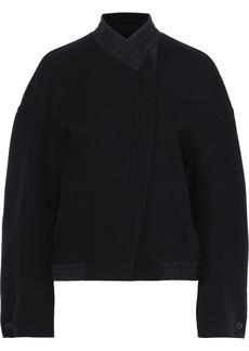 Jil Sander Woman Shirred Wool-felt Jacket Black