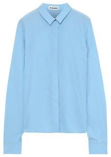 Jil Sander Woman Silk Crepe De Chine Shirt Blue