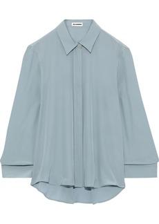 Jil Sander Woman Silk Crepe De Chine Shirt Grey Green