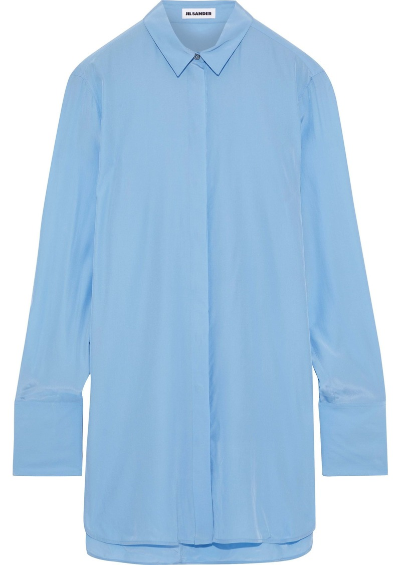 Jil Sander Woman Silk Crepe De Chine Tunic Light Blue