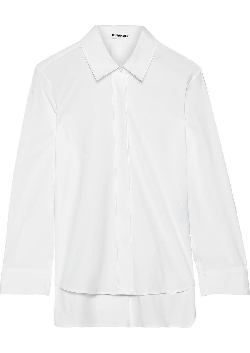 Jil Sander Woman Stretch-cotton Poplin Shirt White