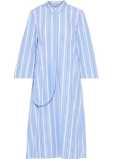 Jil Sander Woman Strap-detailed Striped Cotton-poplin Shirt Dress Light Blue