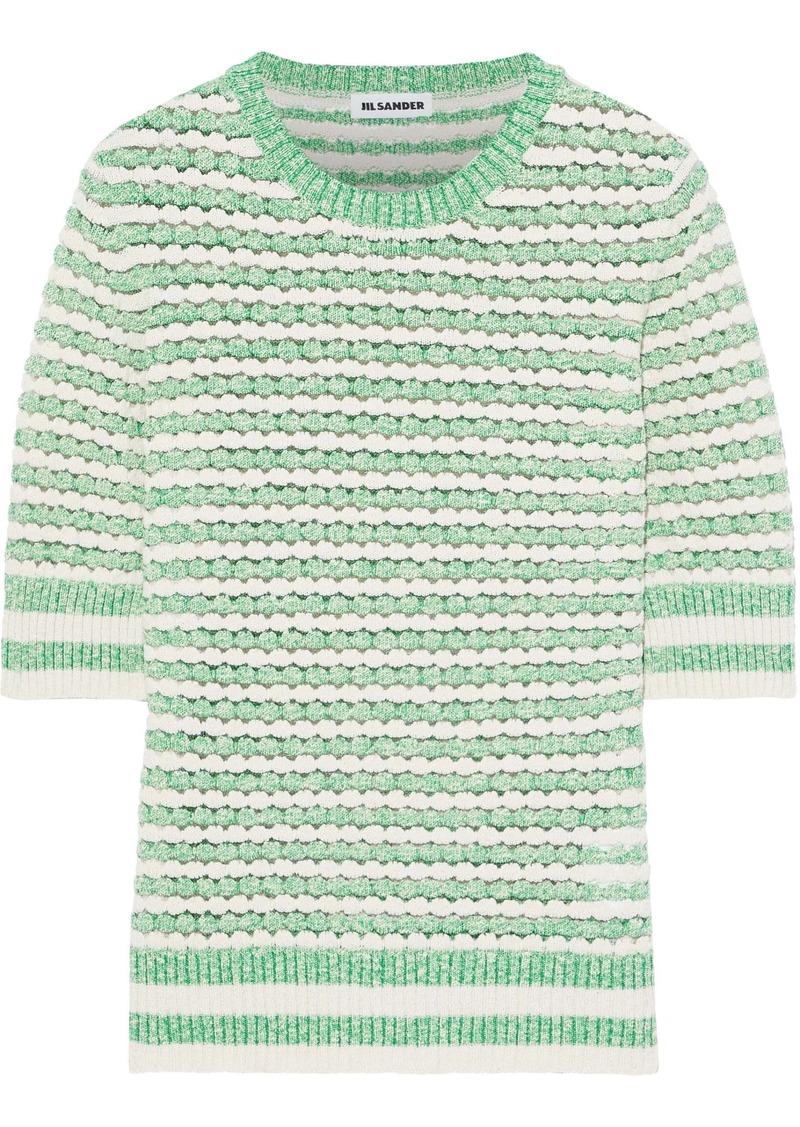 Jil Sander Woman Striped Open-knit Cotton-blend Top Light Green