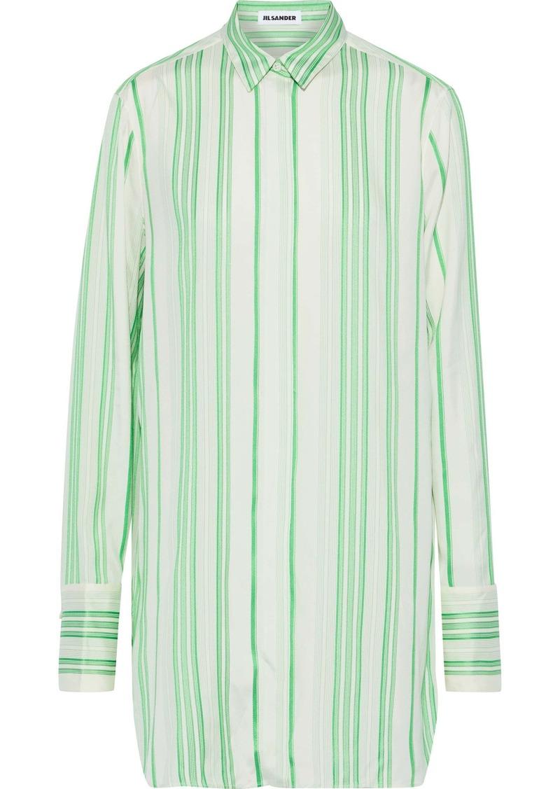 Jil Sander Woman Striped Silk Crepe De Chine Shirt Bright Green
