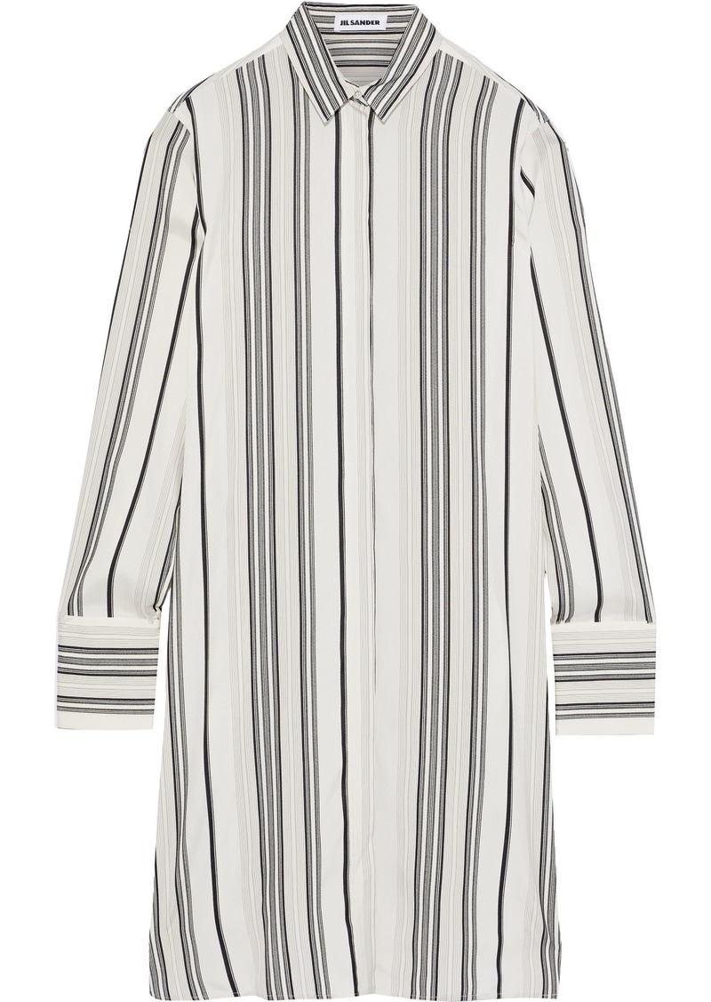Jil Sander Woman Striped Silk Shirt Dress Ivory