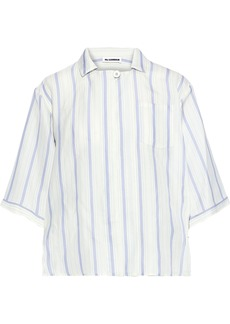 Jil Sander Woman Striped Twill Shirt Ivory
