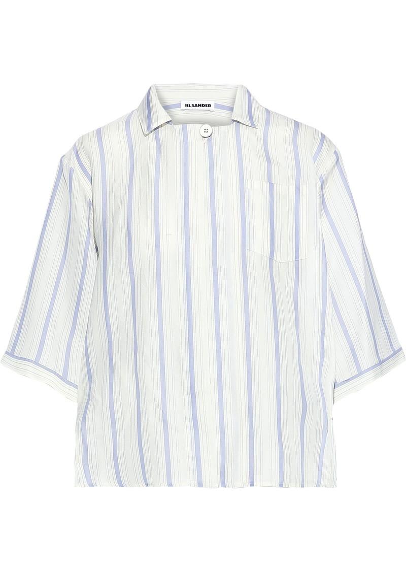 Jil Sander Woman Striped Twill Shirt Ivory
