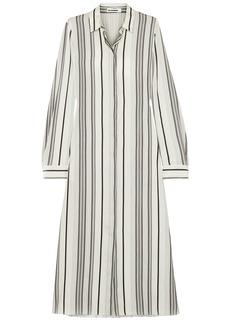 Jil Sander Woman Striped Washed-silk Midi Shirt Dress Ivory