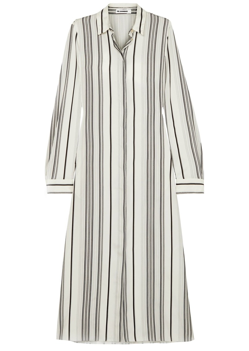 Jil Sander Woman Striped Washed-silk Midi Shirt Dress Ivory
