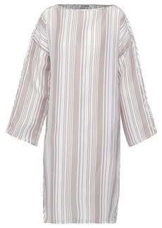 Jil Sander Woman Striped Woven Silk Dress Neutral