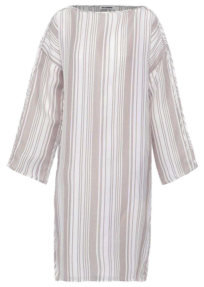Jil Sander Woman Striped Woven Silk Dress Neutral