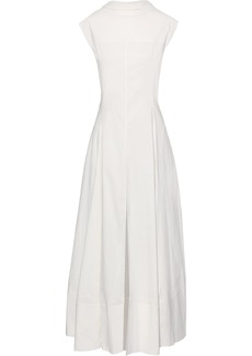 Jil Sander Woman Tie-back Pintucked Cotton-blend Poplin Maxi Dress Ecru