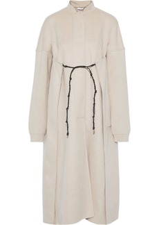 Jil Sander Woman Tie-front Ribbed Knit-paneled Cashmere-felt Coat Ecru