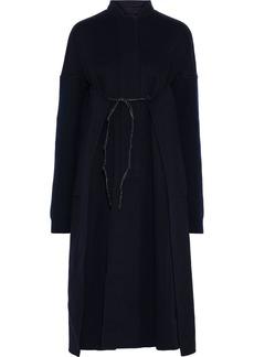 Jil Sander Woman Tie-front Ribbed Knit-paneled Cashmere-felt Coat Midnight Blue