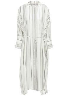 Jil Sander Woman Tie-front Striped Twill Midi Shirt Dress Ivory