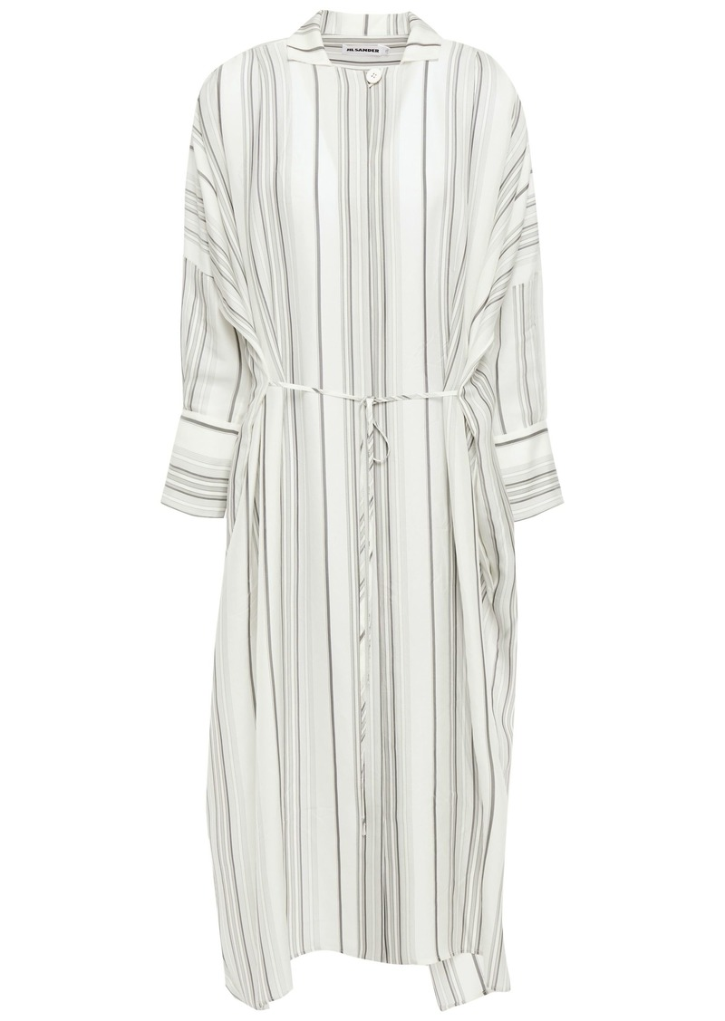 Jil Sander Woman Tie-front Striped Twill Midi Shirt Dress Ivory