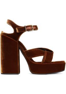 Jil Sander Woman Twisted Velvet Platform Sandals Brown