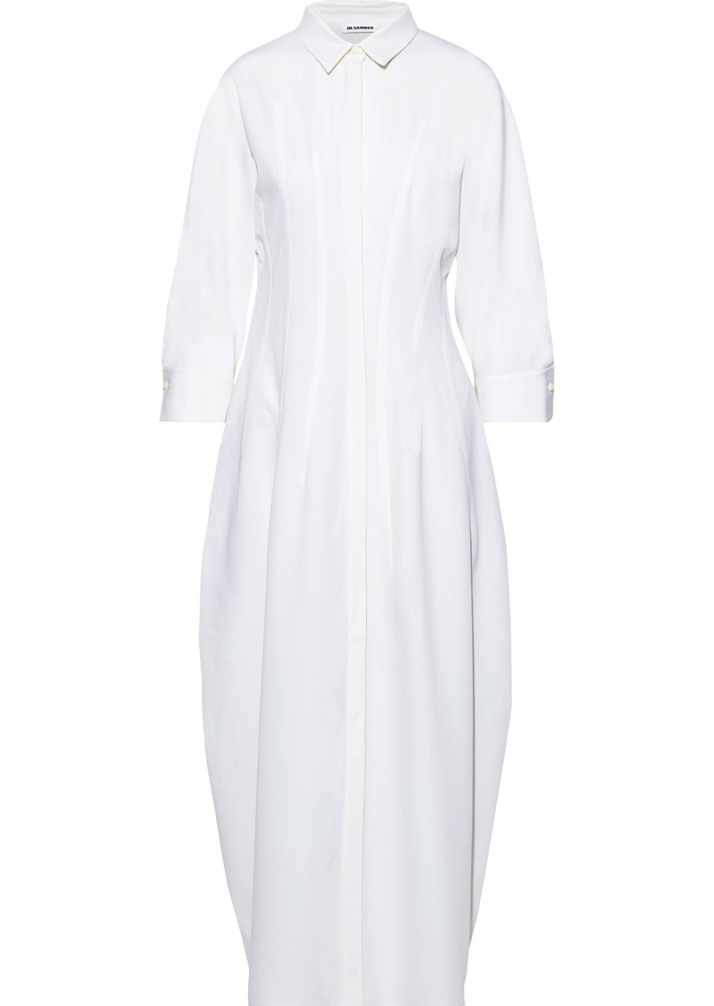 Jil Sander Woman Wool-blend Twill Maxi Shirt Dress White