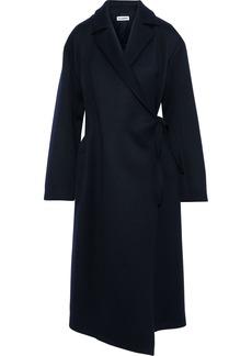 Jil Sander Woman Brushed Wool-blend Twill Wrap Coat Navy
