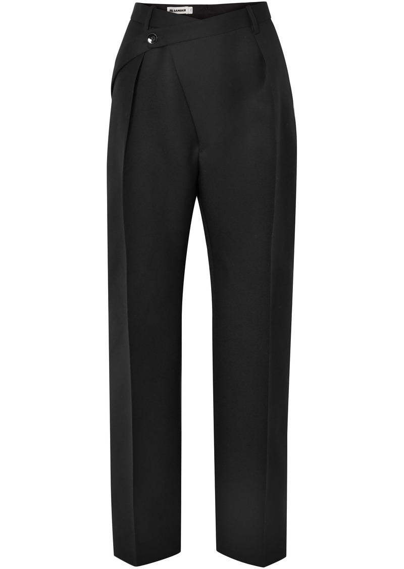 Jil Sander Woman Wool-twill Straight-leg Pants Black