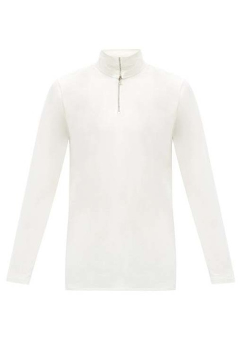 Jil Sander Zipped roll-neck cotton-blend top