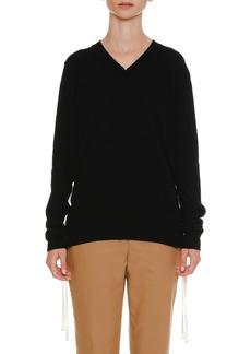 Jil Sander Lacing-Sides V-Neck Cashmere Knit Sweater