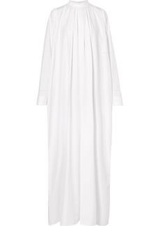 Jil Sander Lattice-trimmed Pleated Cotton-poplin Maxi Dress