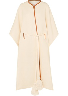 Jil Sander Leather-trimmed Wool And Silk-blend Cape