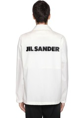 Jil Sander Logo Print Tech Poplin Shirt Jacket
