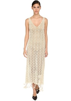 Jil Sander Long Fringed Handmade Macramé Dress