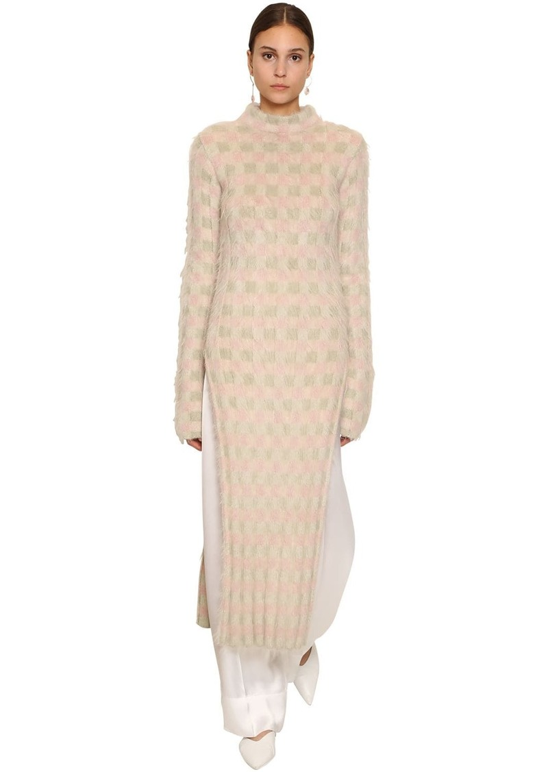 Jil Sander Long Mohair Blend Knit Dress