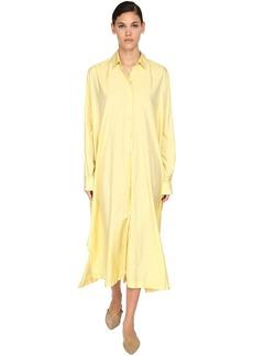 Jil Sander Long Satin Canvas Shirt Dress