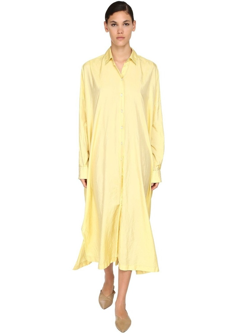 Jil Sander Long Satin Canvas Shirt Dress