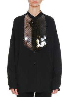 Jil Sander Long-Sleeve Button-Front Oversized Shirt with Detachable Paillette Bib
