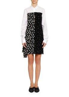 Jil Sander Long-Sleeve Button-Front Silk Shirtdress with Panel Print