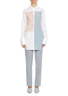 Jil Sander Long-Sleeve Printed-Panels Button-Front Cotton Tunic Shirt