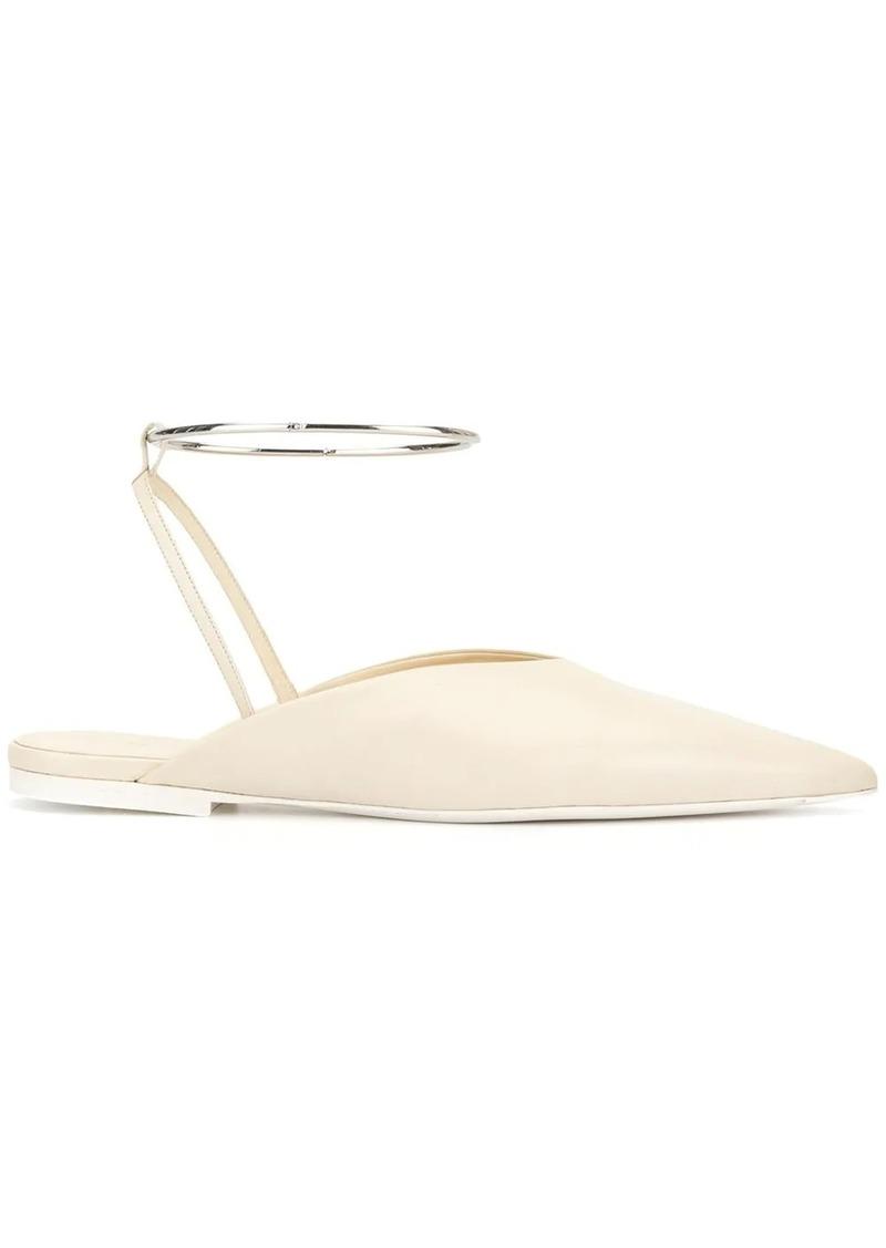 Jil Sander metallic ankle strap mules