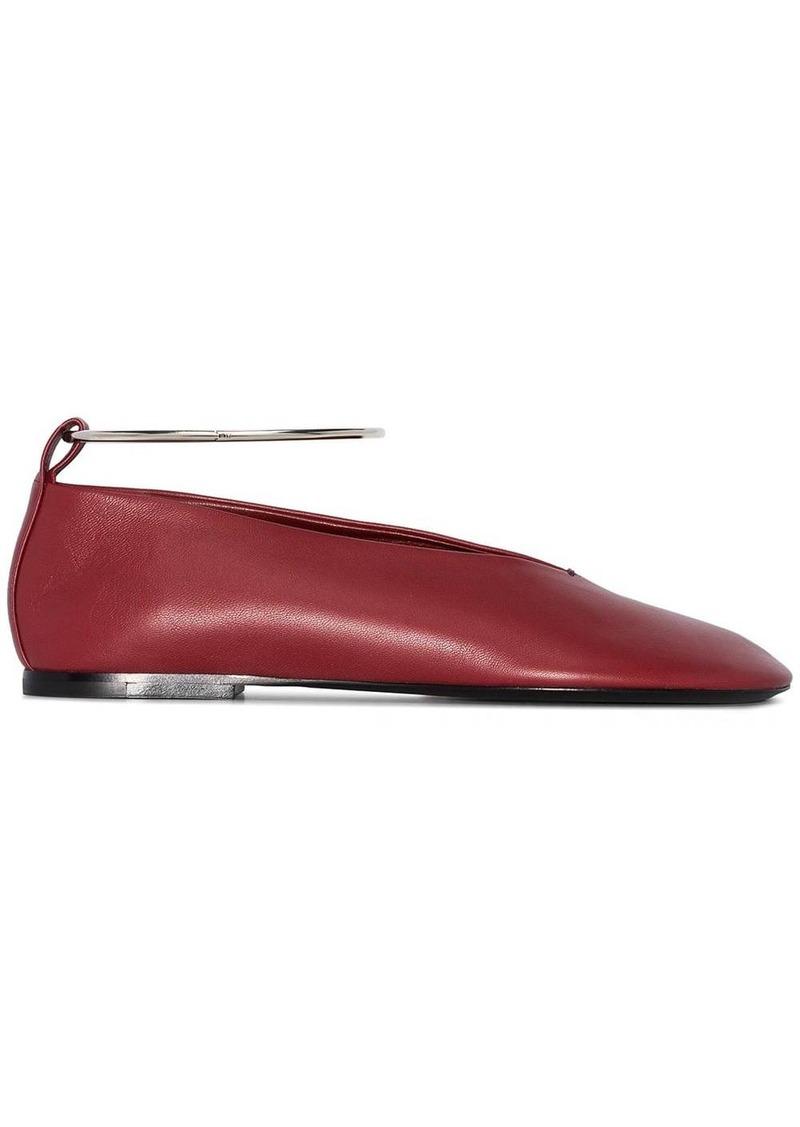 Jil Sander metallic anklet ballerina shoes
