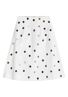 Jil Sander Navy A-Line Cotton Skirt with Sequins