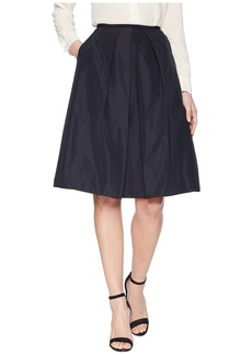 Jil Sander Navy A-Line Faille Skirt with Front Pleat