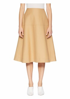 Jil Sander Navy A-Line Skirt with Lined Yoke and Back Pockets
