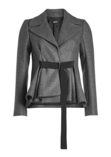 Jil Sander Navy Belted Tweed Jacket with Wool