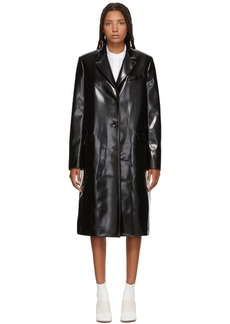 Jil Sander Navy Black Faux-Leather Coat
