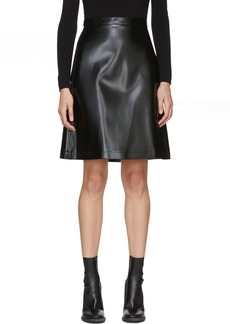 Jil Sander Navy Black Faux-Leather Miniskirt