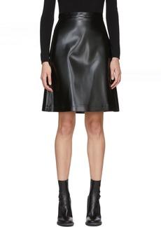 Jil Sander Navy Black Faux-Leather Miniskirt