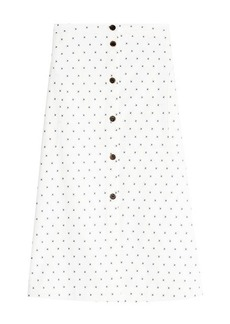 Jil Sander Navy Embroidered Cotton Skirt