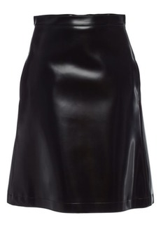 Jil Sander Navy Faux Leather Skirt