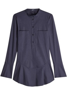 Jil Sander Navy Flutter Hem Shirt with Cotton