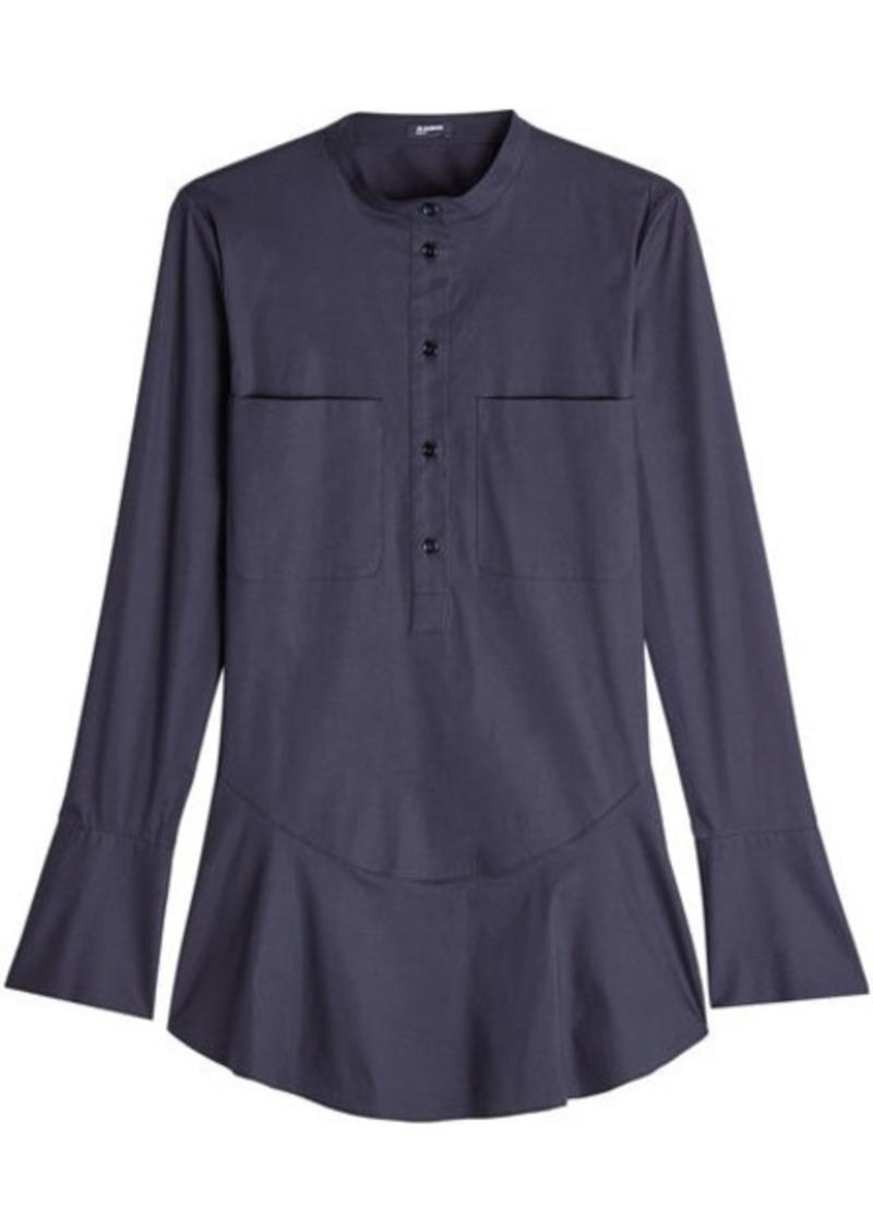 Jil Sander Navy Flutter Hem Shirt with Cotton